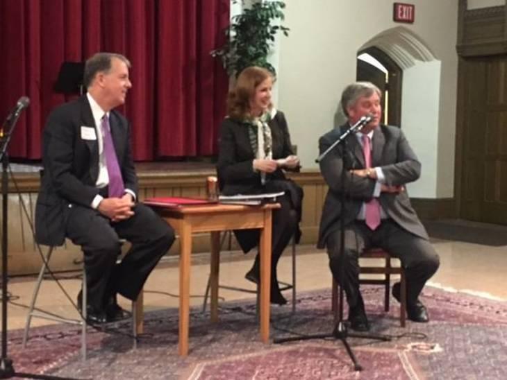 Forum Panelists: Andrew Sidamon-Eristoff, Assemblywoman Nancy Munoz,and Tom Byrne Photo by Chip Dickson