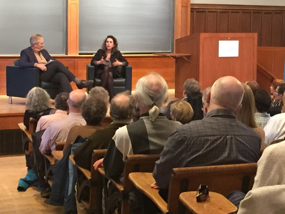 Elizabeth Kolbert (right) and Stephen Pacala (left) talking about The 6th Extinction. Photo by Donna Liu.