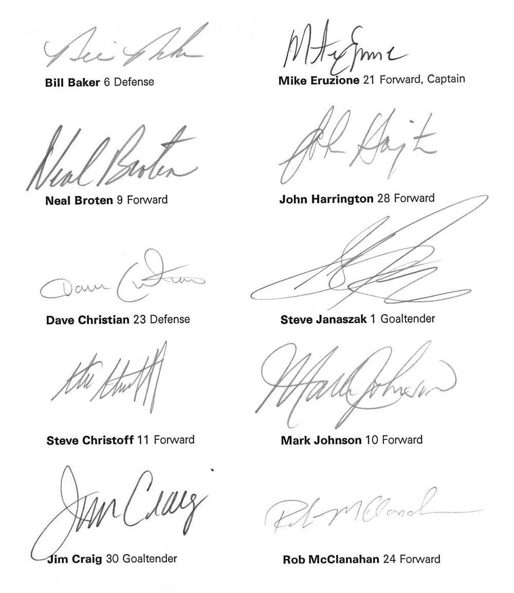 The 1980 U.S. Olympic Hockey Team signatures