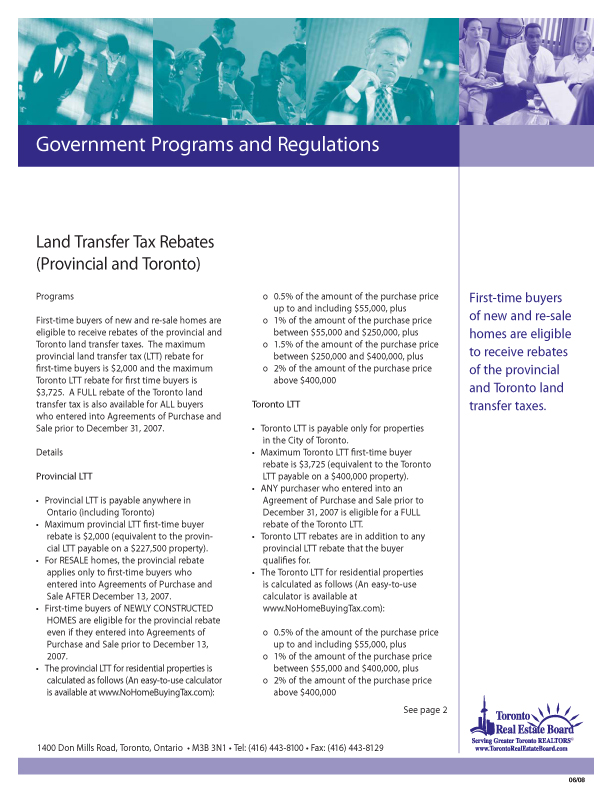 Land Transfer Tax Rebates   Download PDF