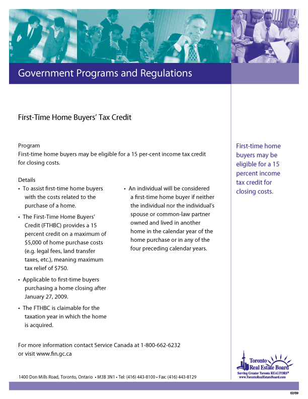 First Time Home Buyers Tax Credit   Download PDF