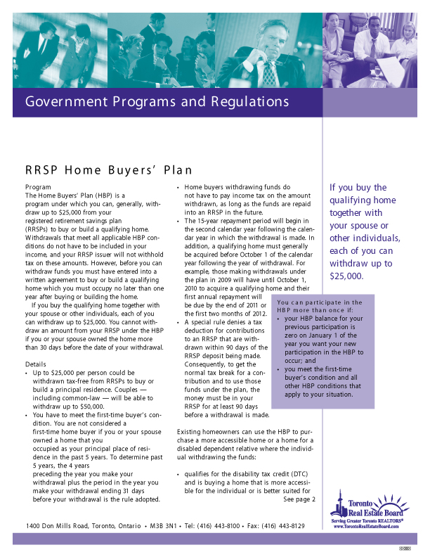 RRSP Home Buyers Plan   Download PDF