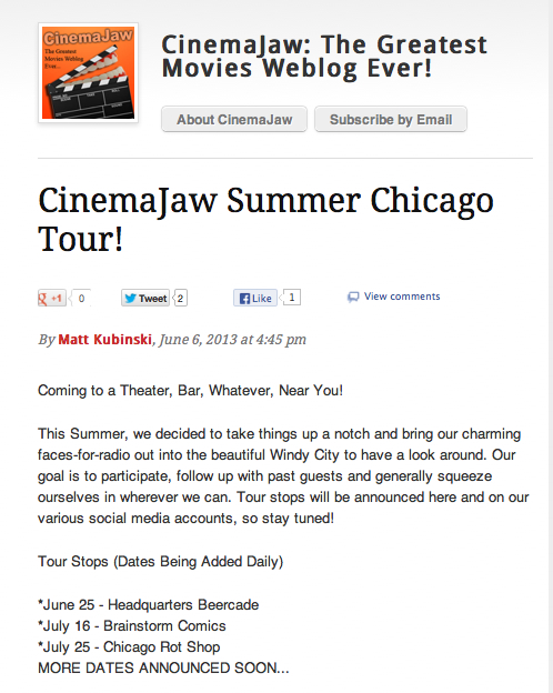 Our friends and fellow movie fanatics at Cinema Jaw came by the Rot shop for a follow up in their podcast about our progress with Chicago Rot.
