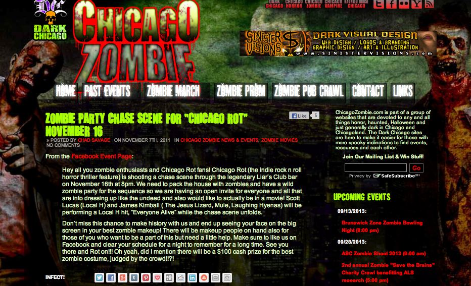 Chicago Loves their zombies, go figure that  Chicago Zombie  would lend a shout about our zombie party.