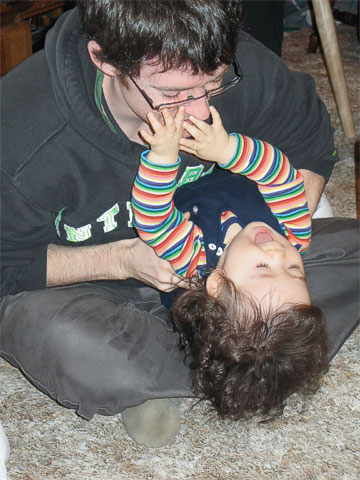 Toshi playing with her dad, Paul