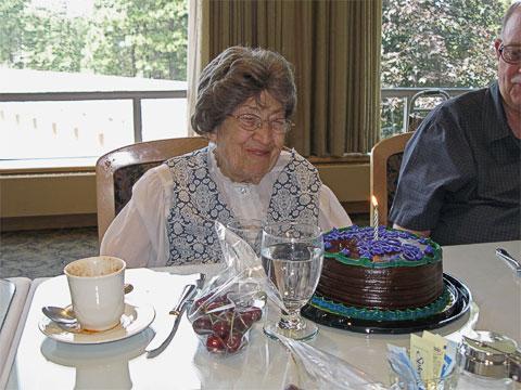 Irene and her birthday cake