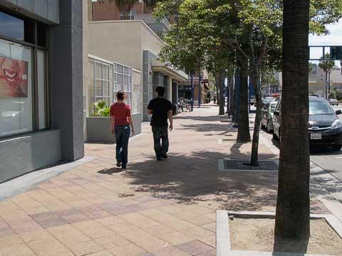 Kellen and Josie walking, downtown Long Beach