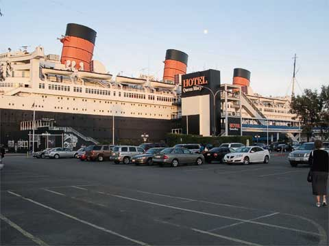 Queen Mary from the parking lot