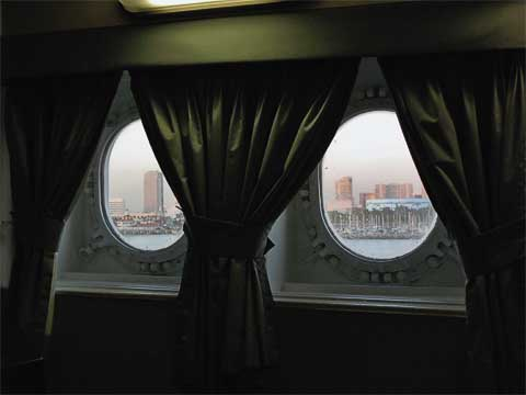 View out the portholes of our room