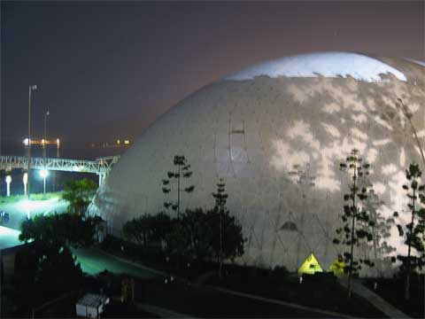 Geodesic dome which used to house the Spruce Goose; the light at the top is from the inside
