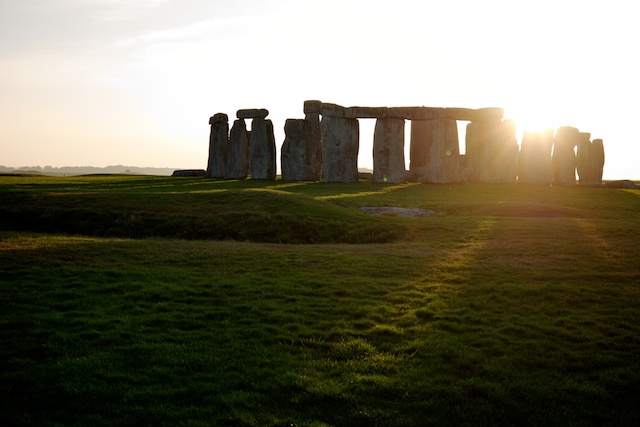 Sun setting at Stonehenge