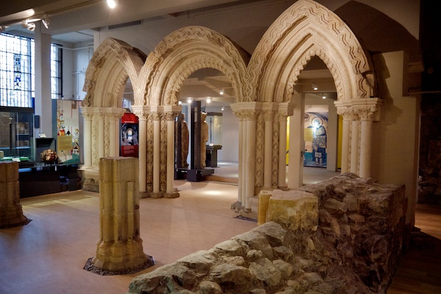 Basement of the Yorkshire Museum showing ruins of St. Mary's Abbey