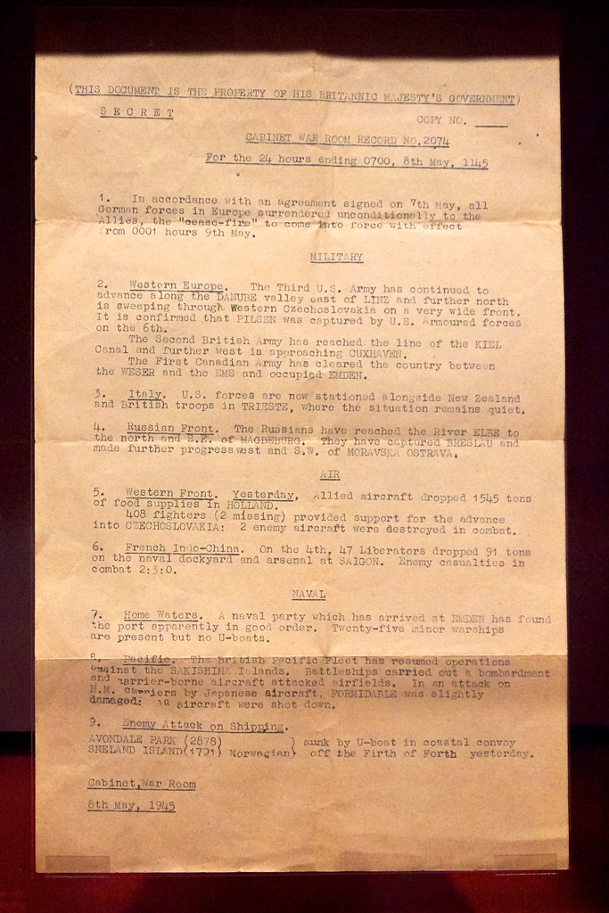 VE Day document
