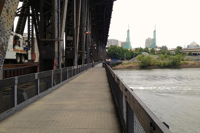 Walking across the Steel Bridge