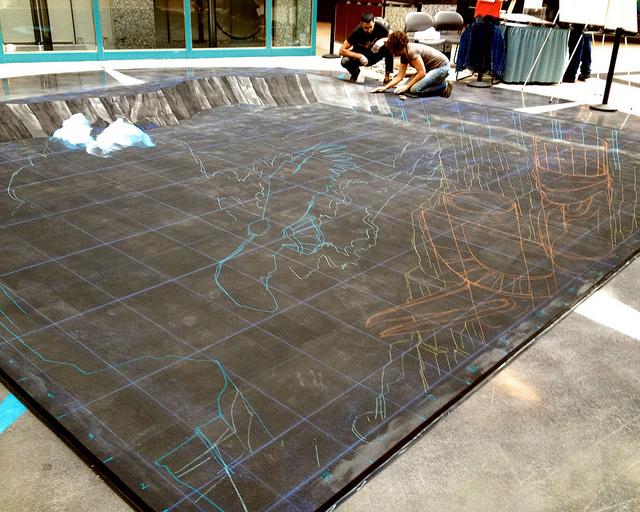 3-D chalk art in progress