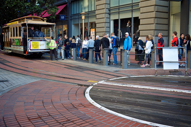 Boarding the Powell St. cable cars
