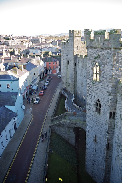 North side of Caernarfon Castle, showing part of the city which is within the town walls