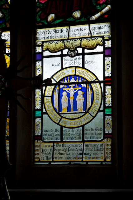 Stained glass in memory of JFK in the Guild Church
