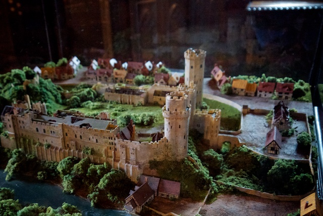 Model of Warwick Castle as it looked at around 1600