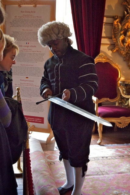 Our tour guide showed a sword presented to Warwick Castle by Queen Elizabeth II in 1996 during her visit