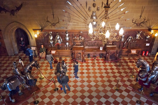 The Great Hall, which has a large collection of armor and weapons