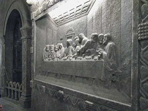 One of the many relief carvings is this rendition of the Last Supper. The relief is about six inches in depth.