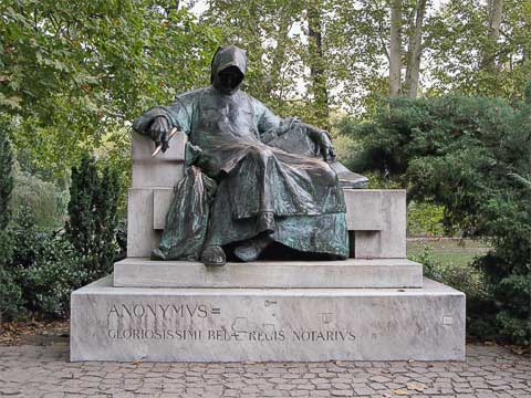 Also on the grounds of Vajdahunyad Castle is this monument to Anonymous, who penned the first Hungarian history in the Middle Ages.