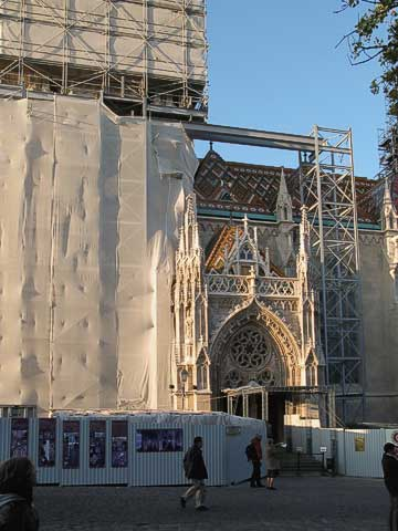 Next to the column is Matthias Church (Mátyás-Templom), which was founded by King Béla IV. It's currently being restored, and the steeple was completely covered with scaffolding.