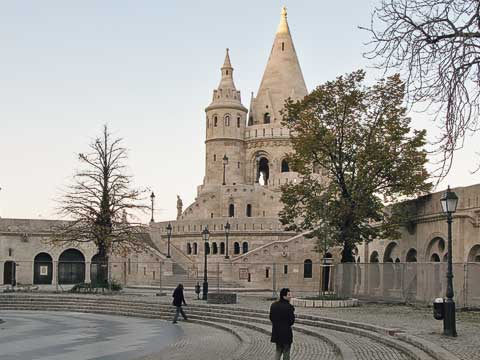 Fishermen's Bastion (Halászbástya) offers great views of the Pest side of the Danube. In the Middle Ages, fishermen guarded this part of the rampart, since the fish market was just below. The existing structure was the result of sprucing up done for the Millennium Exhibition of 1896.