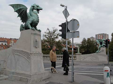 The Dragon Bridge (Zmajski Most) is the second most memorable bridge. It was built in 1901 and was named after Emperor Franz Joseph, but everyone calls it the Dragon Bridge. The dragon is the symbol of Ljubljana, and that came about because legend has it Jason (who, with the Argonauts, stole the Golden Fleece) came through Ljubljana and slew a dragon in a nearby swamp.