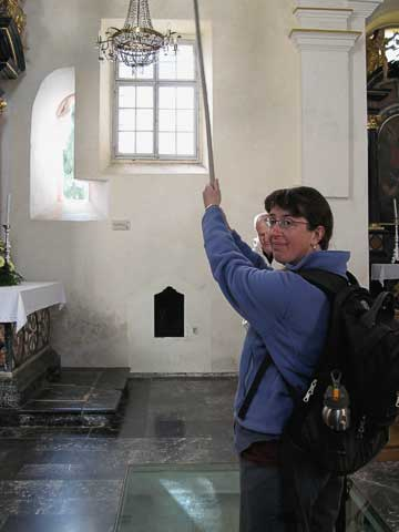 There's a long rope from the bell down to the chapel. It's good luck to ring the bell!