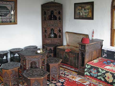 The chest has traditional costumes which visitors can try on. Sorry, no pictures of Frank in a fez.