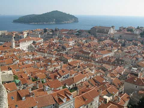 Old Town as seen from Fort Minćeta (Tvrđava Revelin). Our room is at the very left edge, just below where the water starts.
