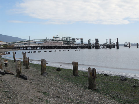 Ferry going into the dock at Anacortes.