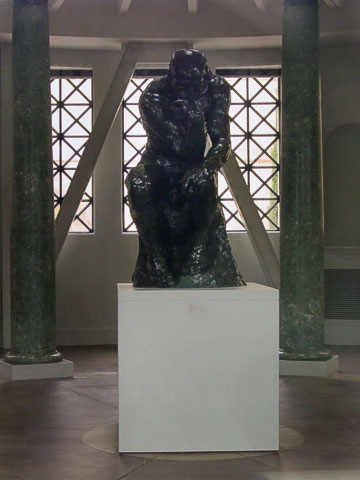 The Thinker, unlike the other sculptures, is protected indoors