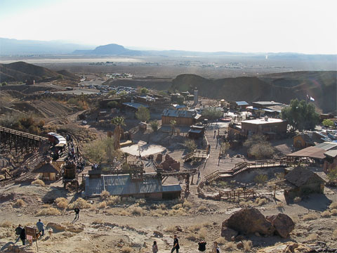 Overview of Calico. On the left is a small train which shows you where some of the original silver mines were. The building just to the right is where you can walk through Maggie's Mine.
