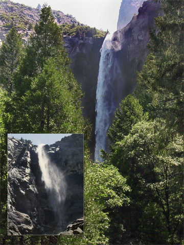 Normally when I've been at Yosemite it's been later in the summer, when Bridalveil Falls is very wispy (as seen in the inset from 1988). Since this was early summer, there was quite a bit of water going over Bridalveil.