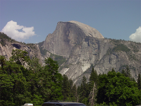 Half dome is perhaps the most recognized landmark at Yosemite. When we drove away from the park over the Tioga Pass, we also saw Half Dome from the other side.