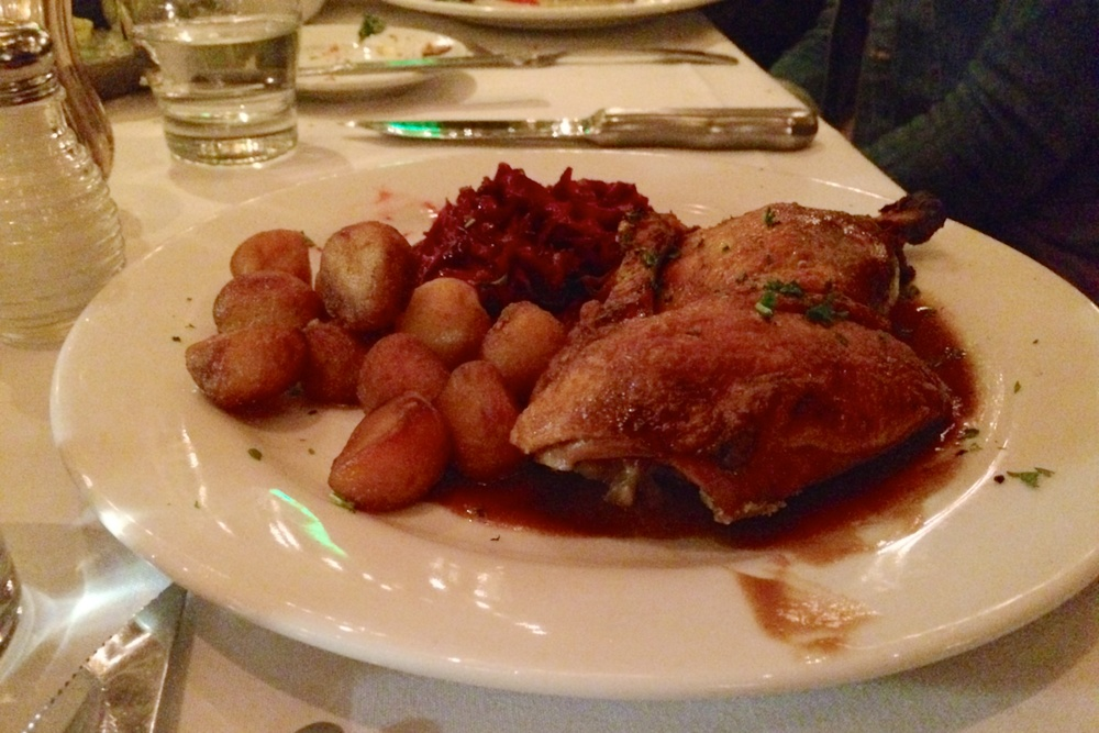 Christmas duck with potatoes and red cabbage