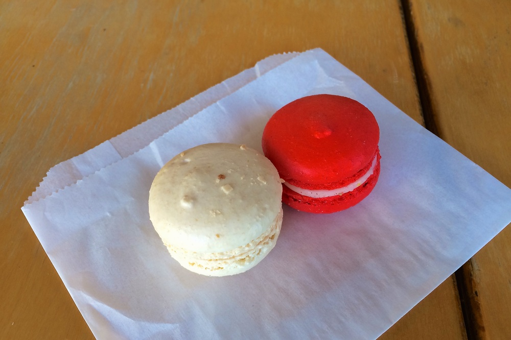 Toasted coconut and pomegranate macarons from DoLy's Delectables
