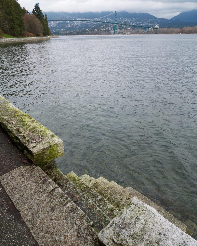 Break in the seawall for steps