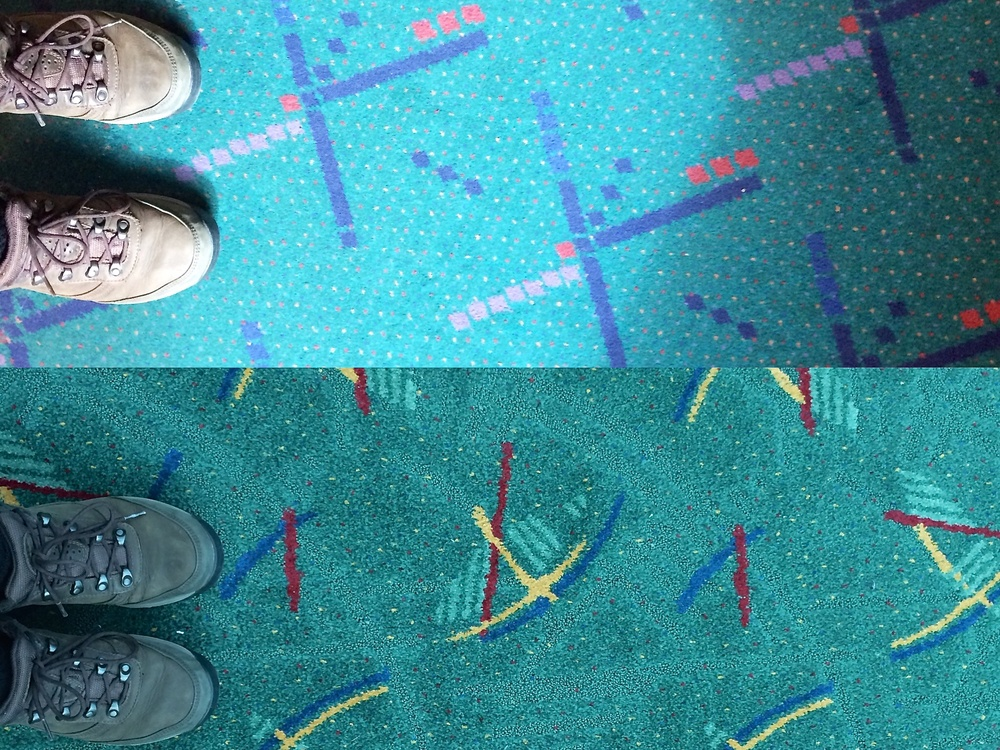 Old and new carpet at the Portland Airport
