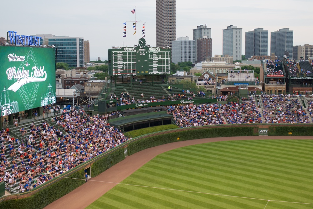 The outfield stands, and the ivy-covered outfield wall