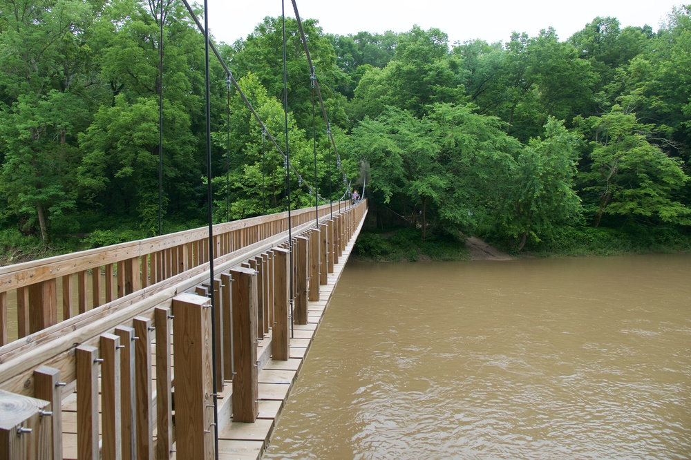 Pedestrian suspension bridge at Turkey Run State Park