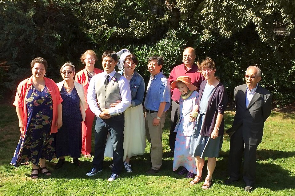 Bride, groom, parents, and grandparents (photo by Kathy Tashima)