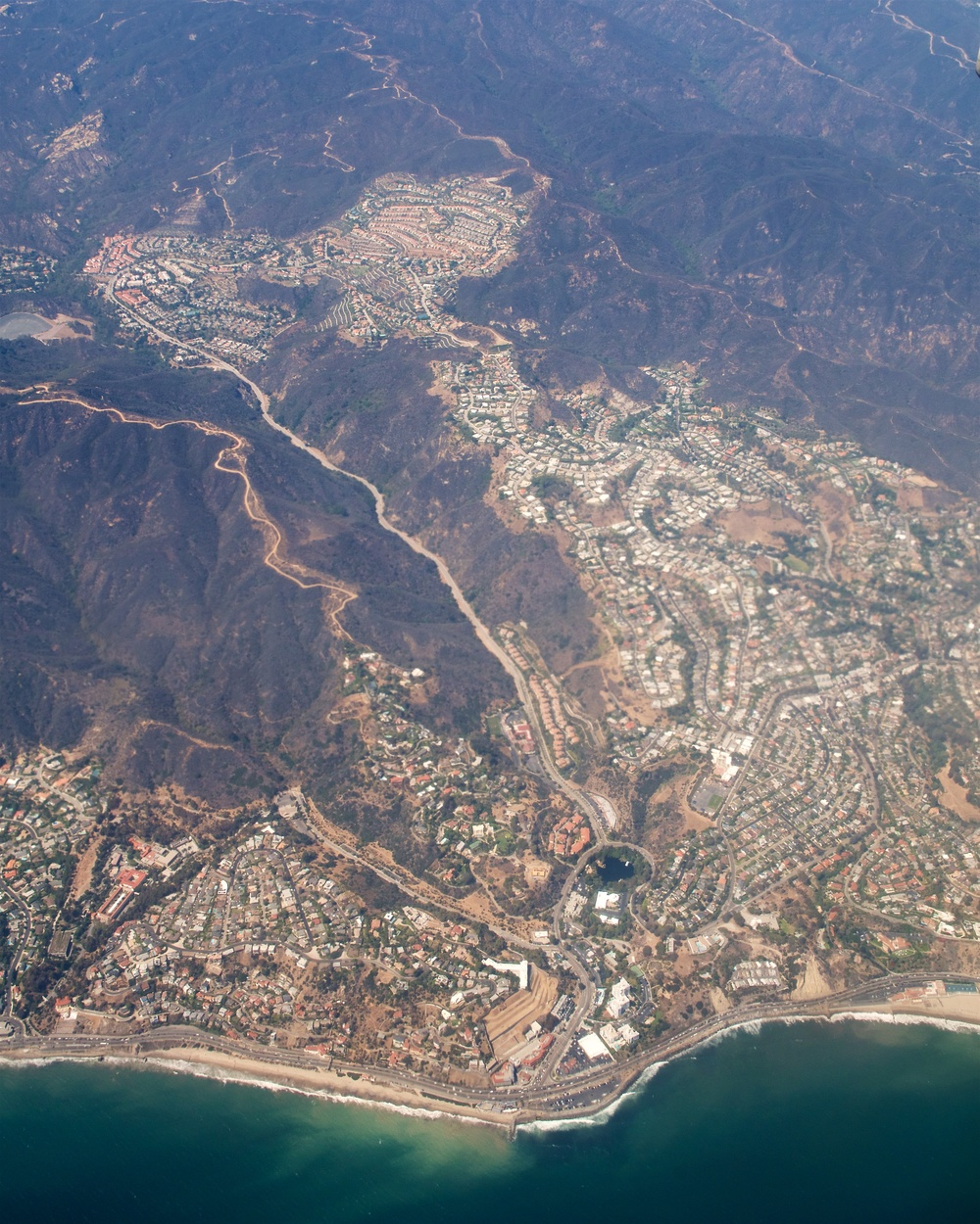 Malibu (Getty Villa at lower left), Malibu Canyon