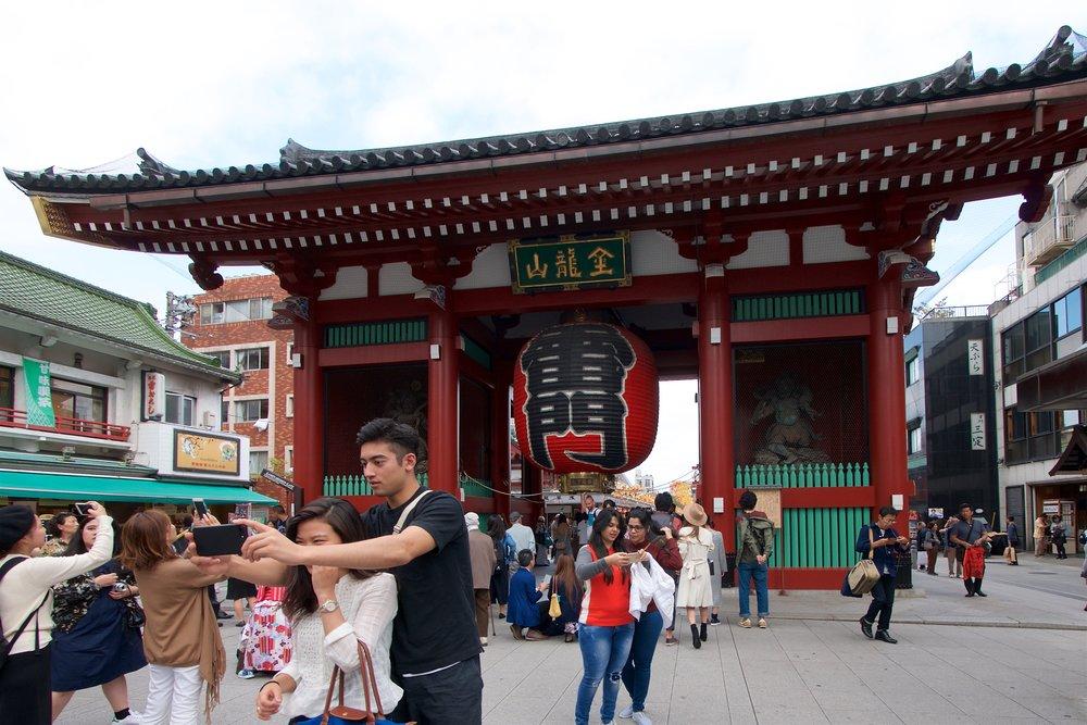 Selfies at Kaminarimon Gate