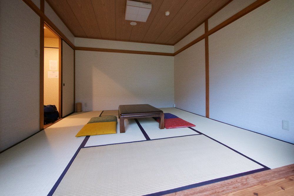 Table and cushions in the middle of the tatami mats