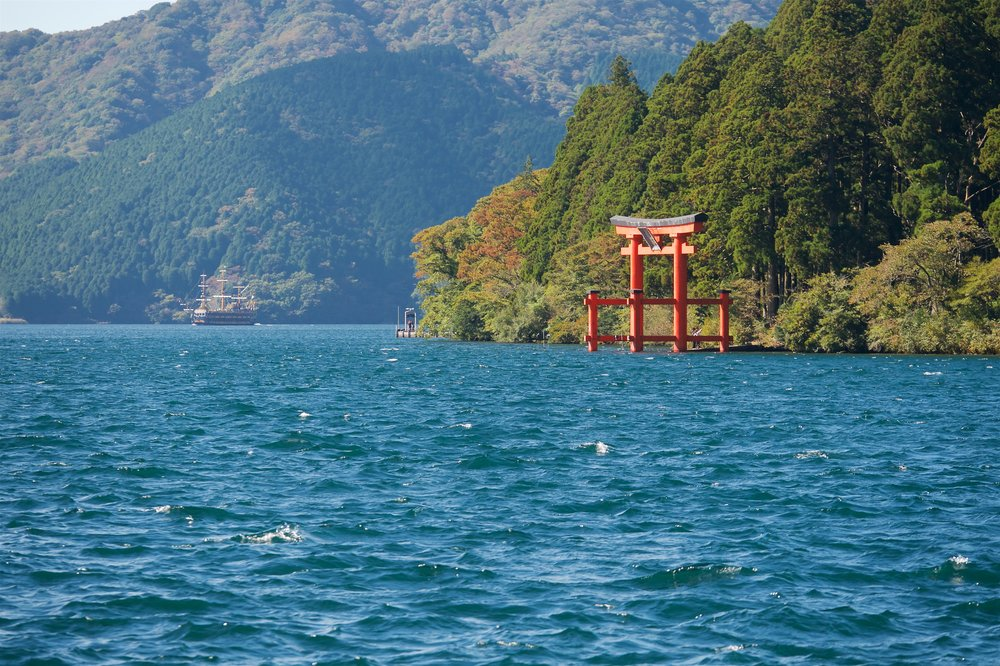 View of the Hakone Shrine torii from the lake side