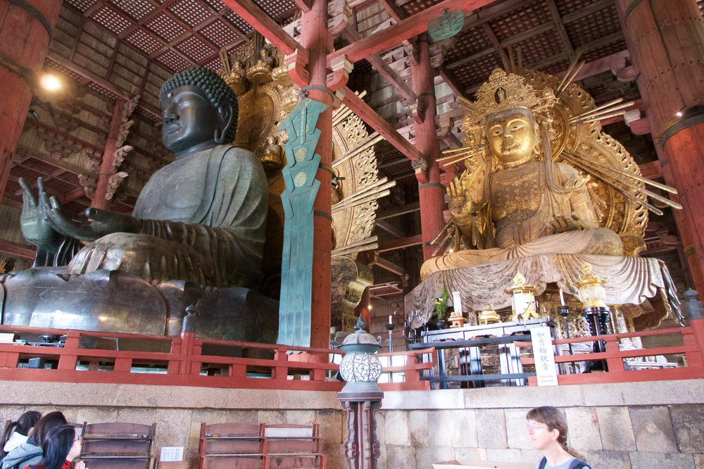 Buddha and one of two Bodhisattvas